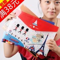 Free shipping 24 hyraxes kit paper bags buckle cartoon flag folder storage file folder