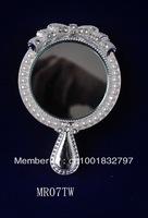Beautiful metal and diamond dressing hand makeup mirror
