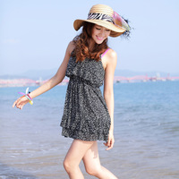2014 new style Bohemia rayon spaghetti strap dress beach dress short design one-piece dress cute dot mini dress free shipping