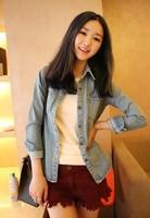 2012 autumn all-match vintage reminisced water wash hole shoulder pads denim outerwear long-sleeve denim shirt