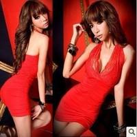 2012 sexy red V-neck lace halter-neck slim hip slim one-piece dress