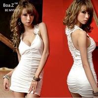 sexy slim hip tight V-neck big racerback slim basic one-piece dress
