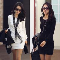 women's ol fashion slim o-neck solid color long-sleeve dress
