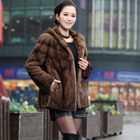 Coffee hooded fashion marten overcoat fur coat mink hair clothes with a hood fur