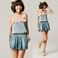 Free Shipping 2013 women's chiffon tube top jumpsuit denim one piece shorts vintage jeans female shorts