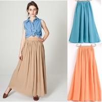 Free Shipping Aa skirt bohemia double layer chiffon high waist expansion bottom bust skirt long skirt
