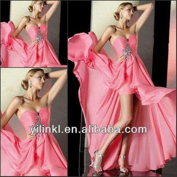 Pink Color Short Front Long Back Ruched Bodice Rhinestone Korean Prom Dresses