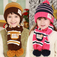 Winter tutuya stickers style child ear protector cap scarf twinset hat cotton cap 3253