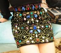 Free ship New Euro Fashion  Vintage Rivet Geometric High Waist Cotton  damionds ol pencil Mini  Skirts For Women