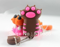 Retail Genuine 4G/8G/16G/32G  USB Memory Stick Flash Drive Pen cute coffee paw tiger  silicone animal cat  plastic Freeship