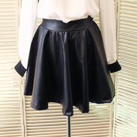 free ship Fashion elegant elastic waist PU expansion skirt fluffy short skirt leather skirt bust skirt