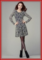 XL-4XL long sleeve maxi dress 2013 spring/summer, office lady fit slim lace dress plus size dresses women, Free shipping