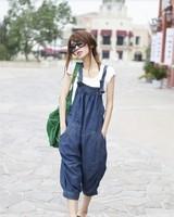 loose 7 harem pants women's plus size casual denim suspenders jumpsuit harem pants, free shipping