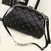 2013 women'splaid skull rivet handbag day clutch shoulder bag FREE SHIPMENT
