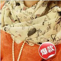 wholesale 5pcs/lot All-match summer sun cape long-sleeve chiffon air conditioning scarf silk georgette print silk scarf