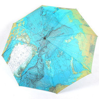 New arrival san xiang map umbrella fully-automatic three fold umbrella personalized folding sun protection umbrella