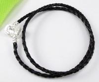 Wholesale Lots 20pcs Black Double Leather Bracelets Fit European Charms Beads (2644)