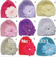2013 New Hotselling  10sets Toddler Infant Baby waffle Stretch Crochet Hats Peony Flowers Clips Baby Crochet Hats Caps