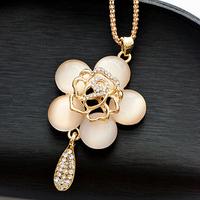 wholesale 10pcs/lot Accessories cat-eye camellia decoration long necklace female accessories long design crystal