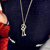 wholesale 10pcs/lot Accessories key clover decoration long necklace female accessories long design 1215