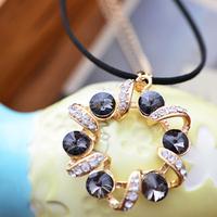 wholesale 10pcs/lot Accessories crystal garishness decoration long necklace female accessories long design fashion 1129