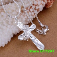 P104 fashion jewelry chains necklace 925 silver pendant Crown cross pendant /aina izua