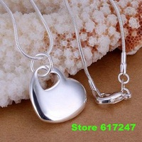P148 fashion jewelry chains necklace 925 silver pendant Heart center fall /ajla jasa