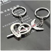 wholesale10pcs/lot Fashion couple key chain key chain key ring single