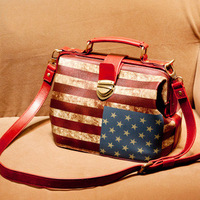 2013 women's handbag fashion all-match doctor bag bags cross-body handbag vintage american flag female bags