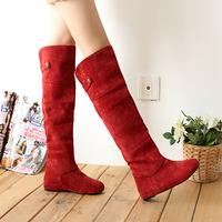Straight fashion nubuck leather martin boots flat heel flatbottomed high-leg boots plus size s489