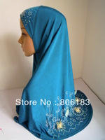 m1721 Big Size Muslim Hijab New Style With Hot Drill And Flower Islanmic Hijab Wholesale Price Free Shipping By EMS or FEDEX
