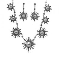 Fashion Jewelry Beautiful Crystal Pearl Jewelry (Necklace And Earring Set)  Sun flower  P209