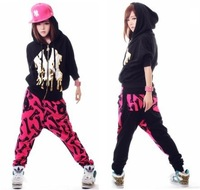 Street dance wear/ harem pants women, printed stage performance /hip hop pants/sports sweatpants for girls, Free shipping