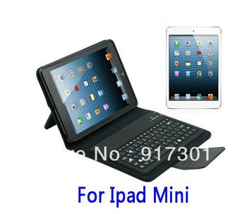 New Black Purple White Bracket Stand Wireless Bluetooth 3.0 Keyboard Folding Leather Case For ipad Mini 7.9'' Free Shipping