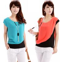 summer women's fashion o-neck color block decoration loose short-sleeve chiffon shirt chiffon