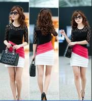 Lace colorant match slim hip slim half sleeve one-piece dress