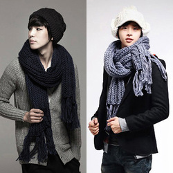 Winter men's coarse bar knitted thick yarn tassel big scarf male thermal long scarf multicolor(China (Mainland))