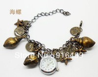 Free shipping  fashion DIY jewelry wind restoring ancient ways multielement bronze quartz analog bracelet gift watch
