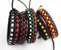 wholesale fashion Simple Multicolor unisex hemp leather handmade bracelet wristband bangle J0085