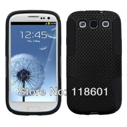 New Design Fashion BLACK Hybrid Mesh Soft Silicone Combo Cover Skin Case For Samsung i9300 S3 Galaxy S III(China (Mainland))