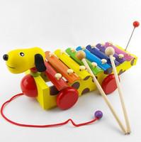 Cartoon dog yakuchinone drag piano hand knocking piano knock piano toy child percusses wooden toy
