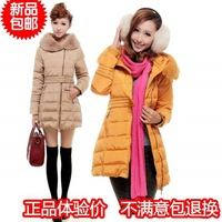 keep warm!2013 new winter clothing women's jackets rabbit fur slim medium-long down coat jacket fashion for girl outerwear