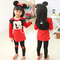 Cartoon mickey children suits girl Minnie long sleeve Tshirt+love heart Leggings two pieces sets kids girl suit 4pcs/lot