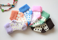 2012 winter new arrival small polka dot loop pile socks thick sock