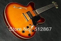 Wholesale - Chinese Musical Instrument 335 electric guitar one piece neck sunburst