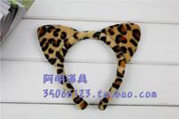 free shipping 6pcs/lot 18g masquerade halloween supplies headband hair accessory hair bands - - leopard print ear