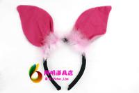 free shipping 6pcs/lot 25g ball halloween party supplies hair accessory headband pink pig headband