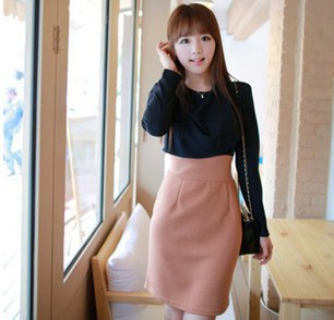 Hot sale 2013 pink ladies ol formal cotton dress with long sleeves designs wholes prices TTHM1514(China (Mainland))