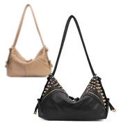 2013 new arrival ladies' fashion studded PU shoulder bag  women's handbag ,rivet,punk style Tote bags 2 designs 13-wb003