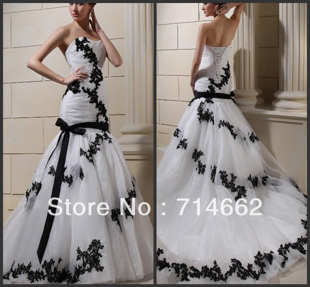 Best Selling Free Shipping Black And White Lace Ribbon Organza Sheath Wedding